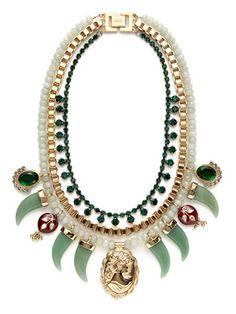 Mawi Heirloom Tusk & Multi-Pendant Bib Necklace