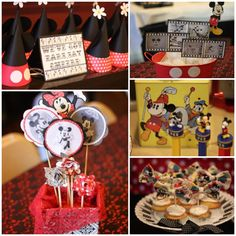 Vintage Mickey and Minnie party decor. I'm liking this theme for rilies birthday party.