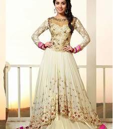 Buy New Exclusive Heavy Designer White Gorgeous Anarkali Suits anarkali-salwar-kameez online