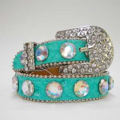 ༻⚜༺ ❤️ ༻⚜༺ COWGIRL PET STYLE | Rhinestone Crystal Silver Buckle Aqua Ostrich Leather Dog Collar ༻⚜༺ ❤️ ༻⚜༺