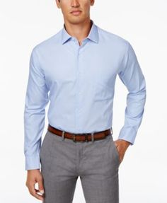Alfani Men's Classic Fit Performance Twill Textured Dress Shirt, Only at Macy's - White 14-14 1/2 32-33
