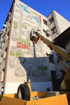 Mayamural, Cracow, Poland. In progress 2. #cracow #poland #mexico #streetart #graffiti #maya #2012