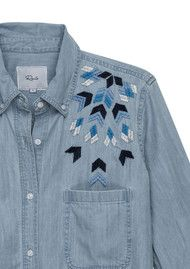 Rails Brett Denim Shirt - Geo Embroidery