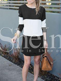 Vestido manga larga color combinado-(Sheinside)