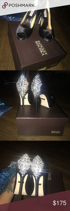 Badgley Mischka Kiara shoes Never worn , still in box. I love these shoes, they're just not my style. Such cute detail. Perfect for a wedding or anything fancy. Feel free to make an offer. Thank you Badgley Mischka Shoes Heels