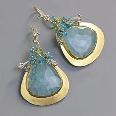 Aquamarine Dangles with Swiss Blue Topaz Flowers – Fuss Jewelry