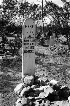 This epitaph, with its famous pun, is perhaps the most quoted epitaph in any cemetery in the United States. It describes the results of an actual gun battle, in which both participants died. The site is the Boot Hill graveyard on the outskirts of Tombstone, Arizona, a town best known for the Gunfight at the OK Corral.