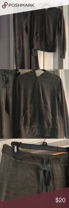 Olive green track suit American Buddha olive green track suit. Velour feel. 80% cotton, 20% polyester. Good condition. Great for winter and lounging around, running errands! Hooded jacket, front pockets on jacket. Selling as a set but also willing to split up. American Buddha Other