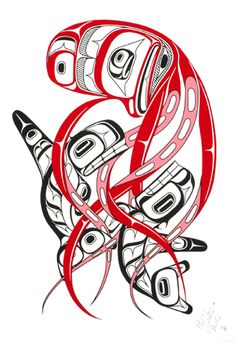 "Devilfish, Phil Grey,  Tsimshian, Cree. Limited edition serigraph, measuring 21.25"" x 14"". First Nations art at Black Tusk Gallery."