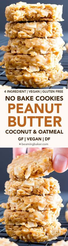 4 Ingredient No Bake Peanut Butter Coconut Oatmeal Cookies (V, GF) ~ A one-bowl recipe for super easy to make peanut butter cookies packed with coconut and oats! Gluten free, vegan, whole grain, and r (Vegan Oatmeal Snacks) Keto Cookies, Gluten Free Cookies, Gluten Free Desserts, Cookies Et Biscuits, Vegan Desserts, Gluten Free Recipes, Vegan Recipes, Cooking Recipes, Delicious Desserts