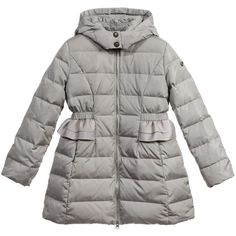Armani Girls Grey Down Padded Coat at Childrensalon.com