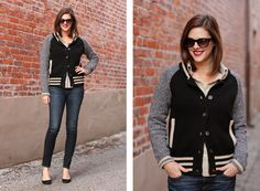 Jessica Quirk, What I Wore, What I Wore Blog, What I Wore Jessica, Fashion Blog, Letterman Sweater, how to wear a letterman sweater, rag and bone jeans, j.crew black wedges, Style Blog, Jessica Quirk blog,