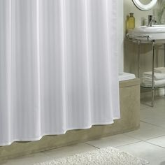 Protect your shower curtain with our damask stripe fabric shower curtain liner #Croscill