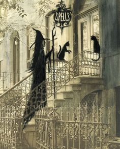 "Magick Wicca Witch Witchcraft: ""Brownstone and Cats,"" by Terri Foss. Retro Halloween, Halloween Kunst, Photo Halloween, Vintage Halloween Decorations, Halloween Pictures, Holidays Halloween, Halloween Crafts, Happy Halloween, Gothic Halloween"