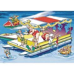 "Santa's Pontoon Boat Party Christmas Cards 18 Cards & Envelopes 5""x 7"""
