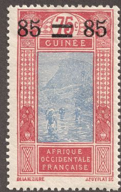 """1904 French Guinea 1c black/yellow green """"Fulah Shepard""""  Quick History  In 1894, Dahomey, Cote-d'Ivoire, and the Colony of French Guinea..."""