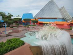 I shot this photo of the Imagination Pavilion at Epcot from the monorail. Love the beautiful fountain!