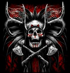 Indian Skull Tattoos, Skull Rose Tattoos, Crane, Evil Demons, Skull Artwork, Skeleton Art, Demon Tattoo, Desenho Tattoo, Skull Face
