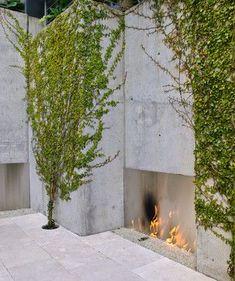Modern minimal outdoor fireplace...