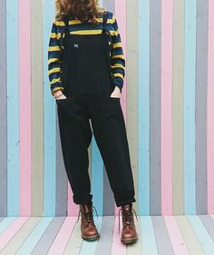 Handmade Cotton Dungarees Overalls in Midnight Black by Lucy and Yak