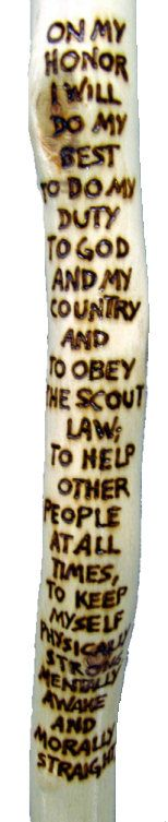 Hiking sticks, make in Webelos to teach scout oath before they turn 11...!