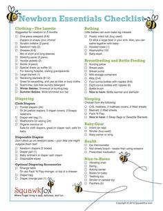 Newborn checklist http://www.squawkfox.com/2012/10/05/newborn-essentials-checklist/