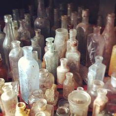 Old vintage glass bottles