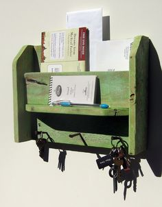 $36 Hand Made Shabby Chic Reclaimed Wood Mail Organizer Key Rack