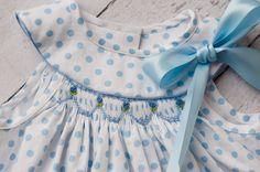 Little girls polka dot hand smocked dress