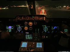 The night view from the flight deck of an Il-114 on final for RWY28R at St. Petersburg.