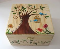 Wooden Memory Box, Keepsake Box, Large Hand Painted Wooden Memory Box with Funky Forest Tree and Bird Cage Design, Put it in a Safe Place.