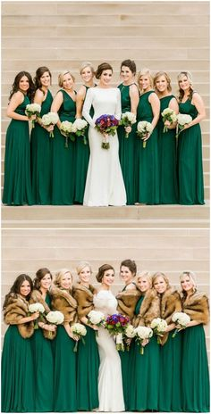 Emerald green gowns, bridesmaids, modern wedding dress, fur stoles, satin // Catherine Rhodes Photography