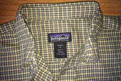 Patagonia XS Organic Cotton Green Plaid Long Sleeve Blouse Shirt