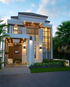 Jasa Arsitek Batam Desain Rumah Beverly Park Type -- located in Indonesia Classic House Exterior, Dream House Exterior, Bungalow House Design, House Front Design, Minimalist House Design, Modern House Design, 3d Home, House Entrance, Entrance Ideas