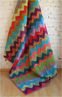 colorful chevron quilt. love the colors