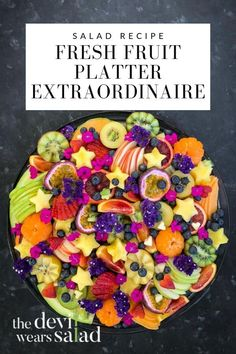 """Fresh fruit platters don't have to be boring and lifeless. There are many ways to make them look extraordinary and elicit those """"wow"""" moments! And we are going to show you how! Veggie Recipes, Cooking Recipes, Veggie Food, Cooking Tips, Fruit Platters, Fruit Dips, Christmas Salad Recipes, Different Fruits, Edible Arrangements"""