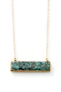 Gold edged African Turquoise Bar Necklace by joydravecky on Etsy