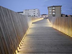 Built by architectes in Lausanne, Switzerland with date Images by Roger Frei. The pedestrian bridge between the Metro station and the Bois de Sauvabelin creates a connection between the urban pla. Landscape And Urbanism, Landscape Structure, Urban Landscape, Landscape Design, Exterior Lighting, Outdoor Lighting, Light Architecture, Architecture Design, Abou Dabi