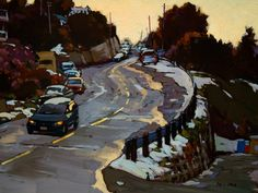 Up Hill, by Min Ma.  This has to be one of my favorite landscapes I have pinned.  An every day scene made into a masterful painting.