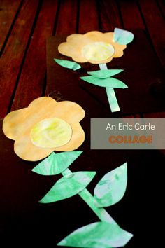 Eric Carle style collage with shaving cream marbled paper. For The Tiny Seed.  #kids art