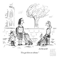 """size: Premium Giclee Print: """"I've got him on vibrate."""" - New Yorker Cartoon by David Sipress : New Yorker Cartoons, Spring Landscape, Winter Scenery, Wall Art For Sale, Humor Grafico, Funny Cartoons, Funny Memes, Got Him, Find Art"""