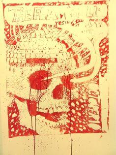 poster printed with Wayne Coyne's blood