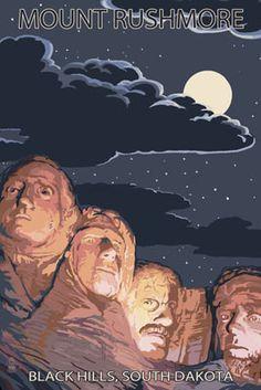 Black Hills, South Dakota - Rushmore at Night - Lantern Press Poster