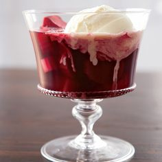 Spiced Rhubarb Soup with Vanilla Ice Cream   This silky fruit dessert is delicious on its own or topped with vanilla ice cream.