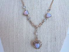 Vintage Opal and Rhinestone Pendant Heart Necklace Gold Plated Chain and Settings Reduced. $16.00, via Etsy.