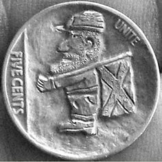 John Carter - Confederate Soldier with Flag American War, American History, Hobo Nickel, Coin Art, Old Coins, Flag, Carving, Military, Drawings