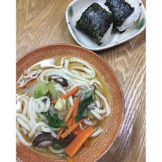 heartneko12016、3、14夕食。 野菜たっぷりあんかけうどん(生姜風味) レシピID:3747657  まだ寒い〜。汁にとろみをつけて、生姜で暖まろう #おうちごはん #夕食 #ゆうごはん #うどん #クック #クックパッド #クックパッドレシピ  #cookpad #cook #cooking #おにぎり #おむすび