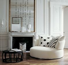 white living space, love the round chair My Living Room, Home And Living, Living Spaces, Living Area, Small Living, Chevron Floor, Round Chair, Round Couch, Big Chair