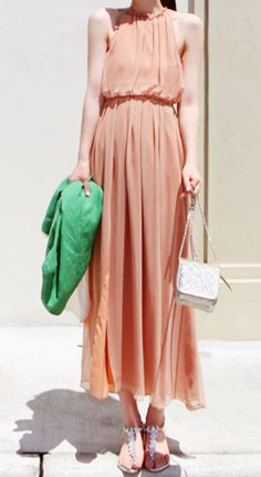 Nude Halter Top Sleeveless Split Front Pleated Maxi Dress