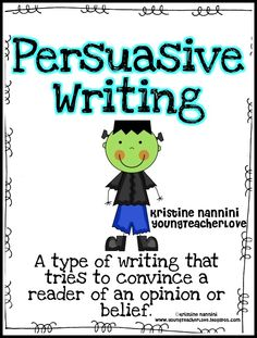 The holidays can be crazy for teachers! Don't get overwhelmed! This persuasive writing for Halloween makes teaching persuasive writing super easy and fun. Planning pages and adorable bulletin board for a festive theme!